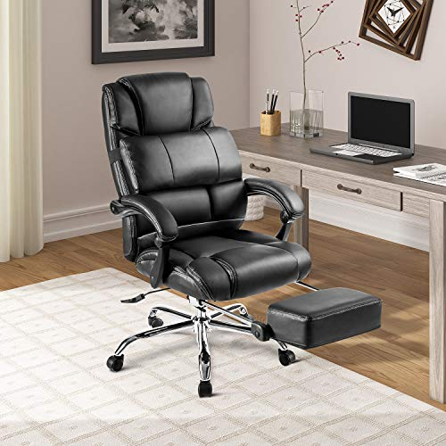 Merax Racing Gaming Chair with Footrest | Ergonomic Office Reclining Chair Computer Gamers PC Racer, High Back Large Home Desk Chairs Executive Adjustable Armrests and Comfortable Seat (All Black)