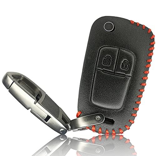 FoilsAndMore Hülle kompatibel mit Opel Chevrolet 2-Tasten Autoschlüssel - Leder Schutzhülle Cover Schlüsselhülle in Schwarz Rot