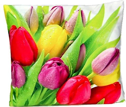 weiche Kissenhülle 40x40 cm Tulpen Bunt Soft Touch Dekokissen Kissenbezug Foto Kissen Frühling Sommer Tulpenwiese Rot Gelb Bunt
