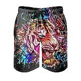 Xuanwuyi Tiger Pink Blue Pantalones de playa con bolsillos Impresión 3D Microfibra Poliéster Swim Tr...