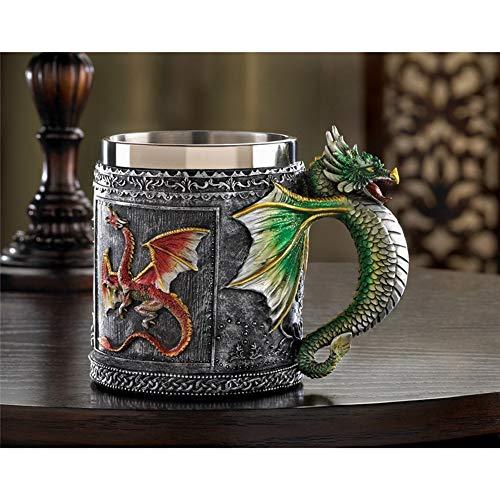 wentao Persoonlijkheid Cup Resin Creatieve RVS Mok Koffie Beker 350ml Middeleeuwse Royalty Retro Stijl Draak Totem Mok