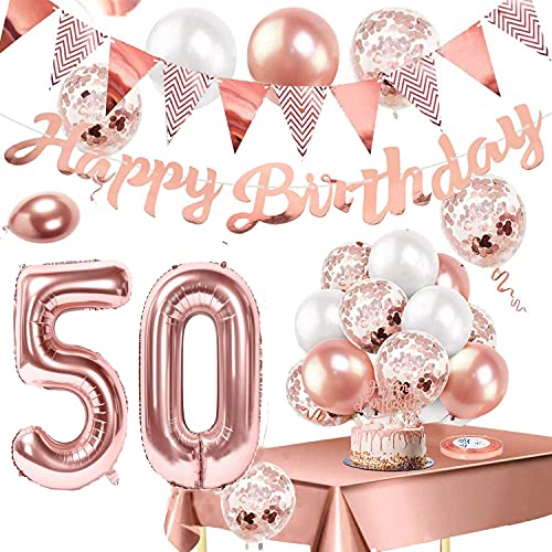 TOPLDSM - Decoración de cumpleaños para niñas, globos de oro rosa con pancarta de feliz cumpleaños, globo de helio número 50, decoración de pastel y mantel para decoraciones de fiesta de oro rosa 50