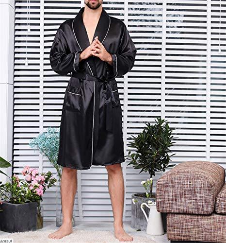 BIANJESUS Pijamas de Verano para Hombre Lujoso Kimono Bata Suave de satén Pantalones Cortos a Juego Camisón de Manga Larga Ropa de Dormir Impreso Albornoces