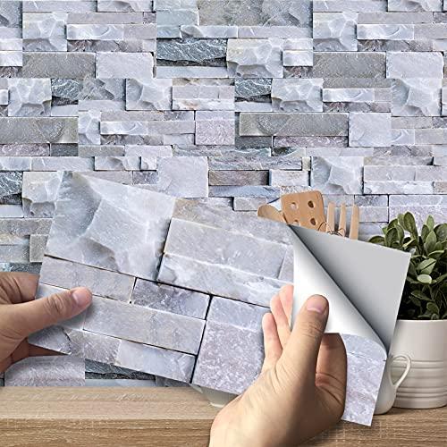 VIVILINEN 27PCS Pegatinas autoadhesivas para azulejos Pegatinas de pared de PVC impermeables Diseño de azulejos de cemento Decoración adhesiva 20x10cm para cocina Baño Gris