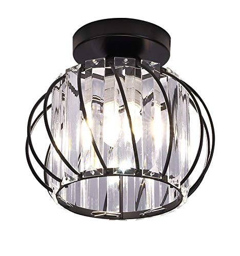Chandelier Crystals Ceiling Lighting Fixtures, Small LED Flush Mount Ceiling Light for Kitchen Hallway Dining Rooms Living Rooms Bar (Crystal Black 1)