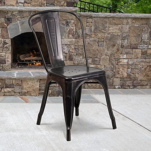 Flash Furniture Commercial Grade Black-Antique Gold Metal Indoor-Outdoor Stackable Chair