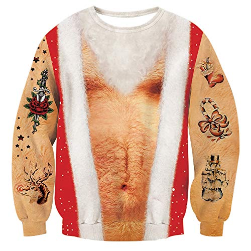 RAISEVERN Unisex Ugly Christmas Hairy Chest Sweater Funny Santa Claus Tattoo Crewneck Pullover Sweatshirt Brown White