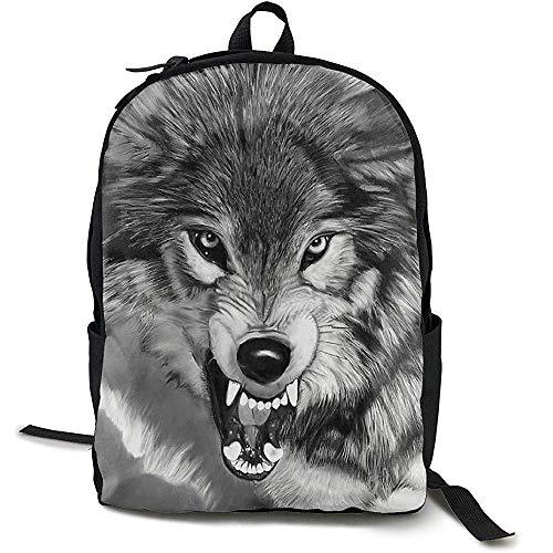 Student Tas, Reizen Rugzak Grote Luiertas - Zwart en Wit Fierce Wolf Rugzak School Rugzak voor Vrouwen & Mannen