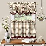 "Achim Home Furnishings Tier Pair and Valance Set Tattersall Window Curtain, 58"" x 24"", Burgundy,TTTV24BU12"