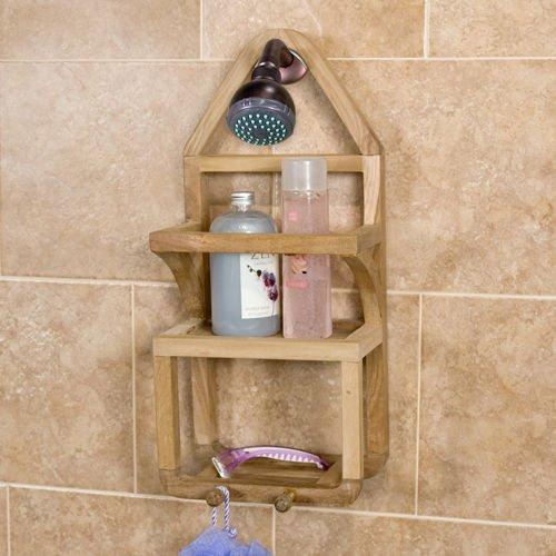 Teak Shower Caddy Suction Shower Shelf