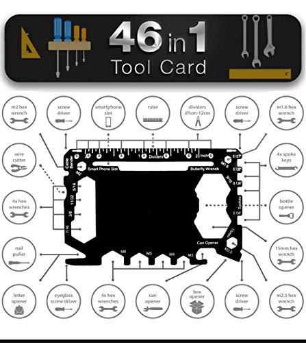 MULTIWERKZEUG in Kartengröße Werkzeug für Brieftasche - Geschenk für Männer 46 in 1 Outdoor Campingzubehör Heimwerkergeräte | Komplettset Schraubendreher, Flaschenöffner, Sechskantschlüssel