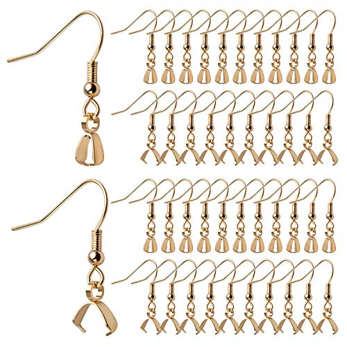 50pcs Stainless Steel Earring Hooks Hypoallergenic French Wire Earring Ball Hooks with Pendant Clasp for Crafts DIY Jewelry Making