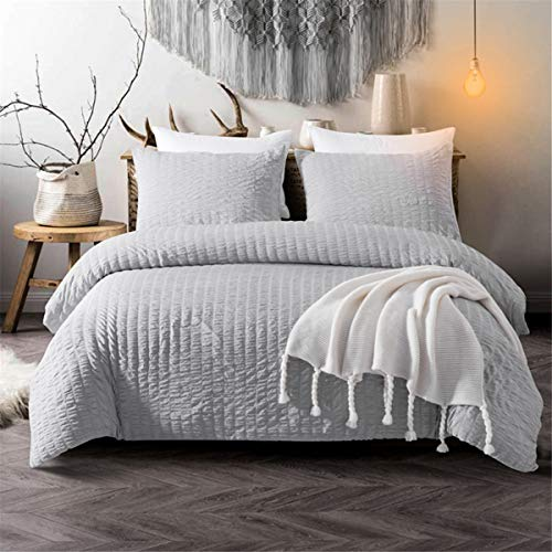 Grey Classic Seersucker Duvet Cover for Teens Adults Pinch Pleat Bedding Set with 2 Pillowcases Classic Puckering and Crimping Quilt Cover with Zipper Closure King Size 220×230cm