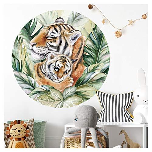 Little Deco DL593 - Adhesivo decorativo para pared (redondo, 60 cm de diámetro), diseño de animales depredadores y tigres