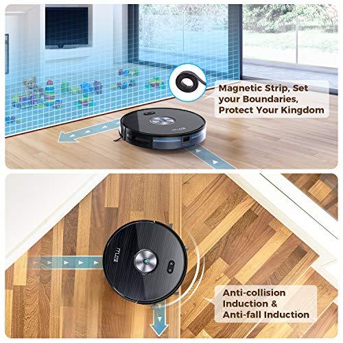 Muzili Saugroboter, Wlan Staubsauger Roboter mit Wischfunktion,App Fernbedienung & Funktioniert mit Alexa, Geräuscharm 350ML Wassertank mit 6 Reinigungsmodi für Tierhaare, Teppiche und harte Böden - 8