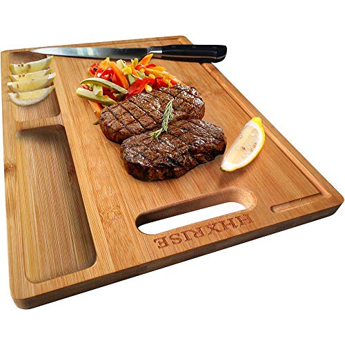 HHXRISE Organic Bamboo Cutting Board For Kitchen, With 2 Built-In Compartments And Juice Grooves,...