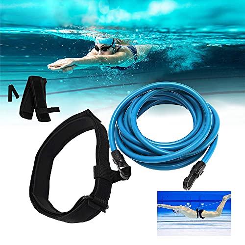 Punvot Einstellbare Pool Schwimmgürtel, 4M Schwimmtraining Elastischen Seil, Schwimmwiderstand Gürtel Schwimmtraining für Kinder & Erwachsene Trainingshilfegurt Fitnessgeräte Spaß für die Familie