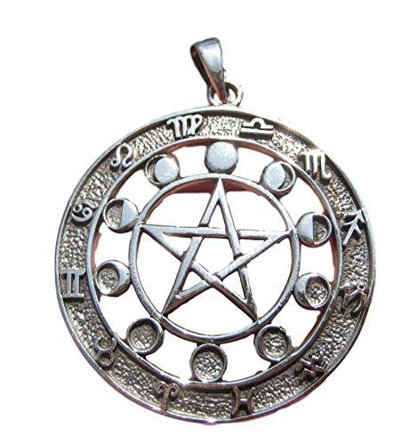 Himalaya Schatten 925 Zilver Zodiac Kalender Maan Maan Cyclus Pentagram Hanger Ketting 26