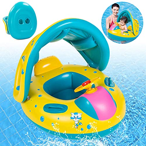 Baby Schwimmring,Baby schwimmring mit Sonnenschutz,Baby schwimmring aufblasbarer,Baby Pool Schwimmring,Schwimmreifen für Babys,Baby Schwimmring Aufblasbarer,für Kinder ab 8 Monaten bis 48 Monaten