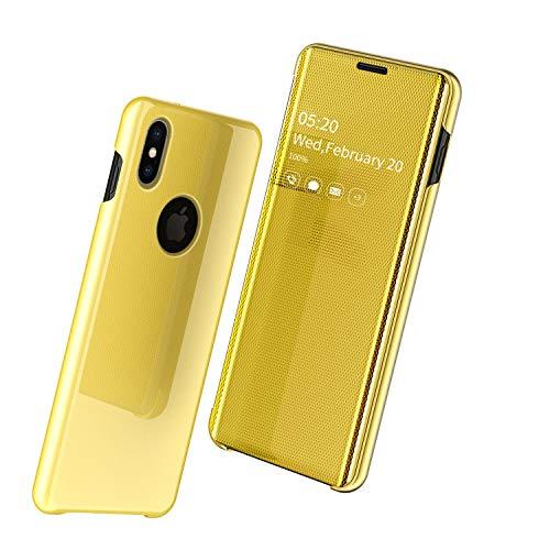 Nadoli Specchio Custodia per iPhone Xs 5.8',Lusso Ultra Magro Trasparente Davanti e Difficile Indietro Sottile a Libro Protettivo Flip Cover per iPhone Xs/X 5.8'