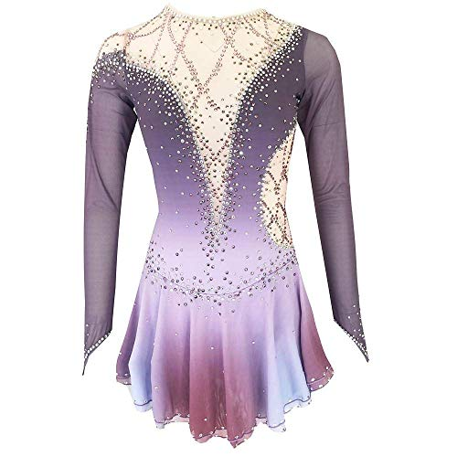 HYCy Eiskunstlauf Dressm, Frauen Mauml;dchen Eislaufen Kleid Grau Open Back Spandex hohe Elastizitauml;t-Training Skating Feste farbige Wear,M