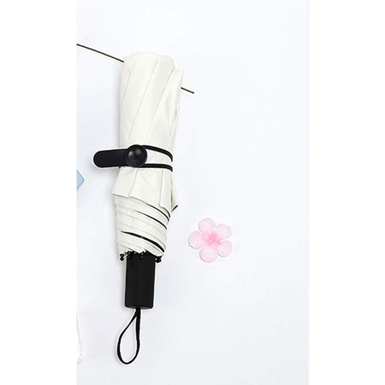 懐疑論最も遠いセクションLKJASDHL ロングハンドル女性の夏の折りたたみ日傘屋外日焼け止めパラソルウルトラライト傘 (色 : ホワイト)