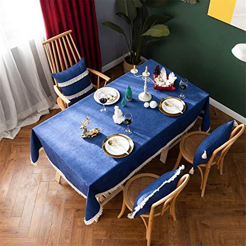 Mantel Rectangular con Flecos Algodón Y Lino Lavable Mantel De Cocina para El Hogar De Encaje De Color Sólido, Funda para Sofá, Funda para Mueble De TV 140x140cm