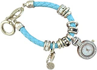Pendant Elegant Women's Rhinestone Heart Charm Wrist Watch Braided Bracelet,Colour:Red (Color : Silver)