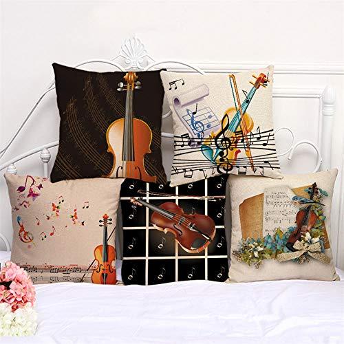 MBWLKJ Juego de 5 fundas de cojín decorativas de 45 x 45 cm, instrumentos musicales, algodón y lino, para sofá, coche, dormitorio, decoración (patrón de dos caras)