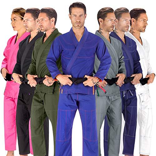 Elite Sports BJJ GI for Men IBJJF Kimono BJJ Jiu Jitsu Lightweight GIS W/Preshrunk Fabric & Free Belt (Blue, A3)