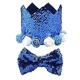 Tabpole Conjunto de pajarita para mascotas de Navidad brillante para disfraz de gato, sombrero brillante, decoración de cumpleaños