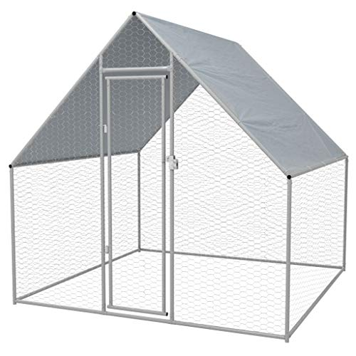 Unfade Memory Chicken Coop Metal Poultry Cage Hen Run House Rabbits Habitat with Roof, Enclosure Playpen for Backyard Farm Outdoor 6'6'x6'6'x6'3'