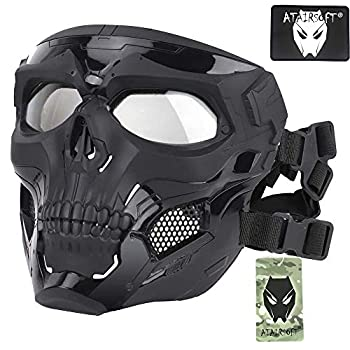 ATAIRSOFT Tactical Protective Adjustable Skull Full Face Mask for Airsoft Paintball Cosplay Costume Party Hockey Black