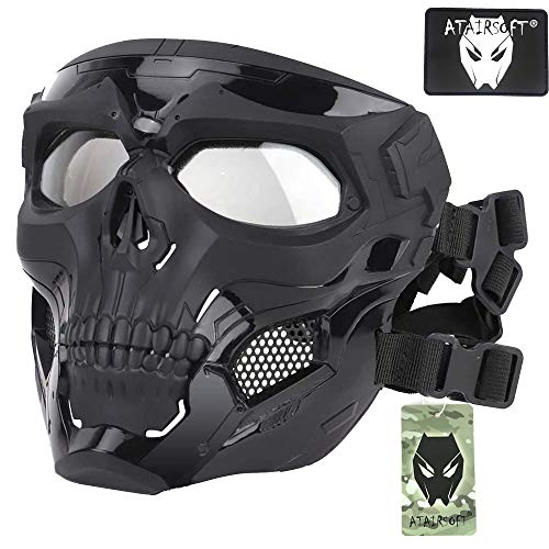 ATAIRSOFT Tactical Protective Adjustable Skull Full Face Mask for Airsoft Paintball Cosplay Costume Party Hockey(Black)