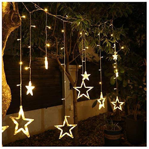 Guirnalda de luces LED de Navidad con mando a distancia, cadena de luz solar, decoración de jardín, luces de hadas (color: estrella colorida)