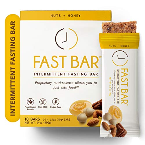 Fast Bar, Nuts & Honey, Gluten Free, Plant Based Protein Bar For Weight Management & Intermittent Fasting (10 Count Box)