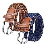Chalier (Paquete de 2) Cinturn Trenzado de Lona elstica Femenina - Cinturones Elsticos Tejidos de Mujer para Jeans