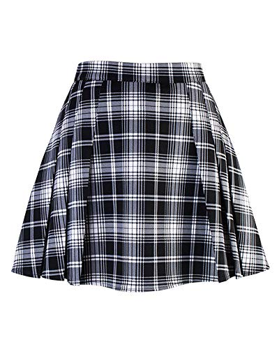 Mädchen Damen Rock Plissee Schuluniform Hosenröcke Kariert Faltenröcke Minirock Schwarz S