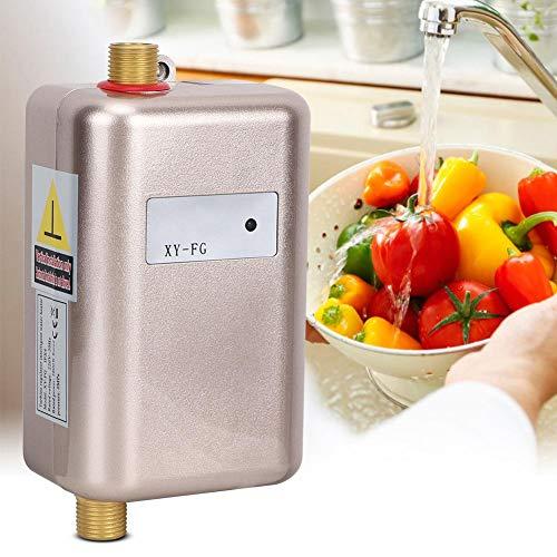A sixx Mini scaldabagno Elettrico istantaneo Senza Serbatoio, Cucina di casa Dorata(Spina UE)