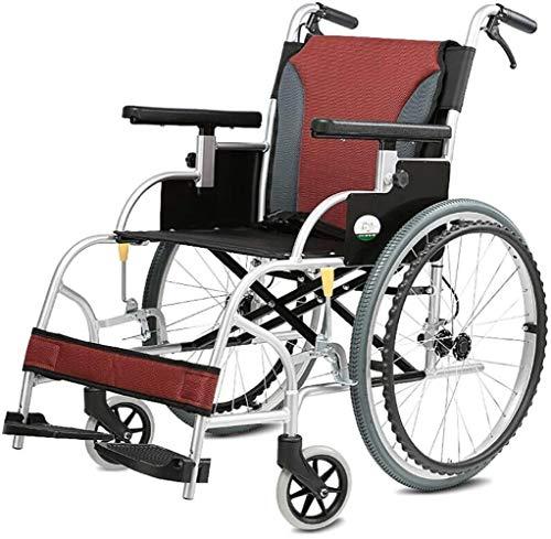 Sedia a rotelle comodo trasporto portatile pieghevole portatile sedia da viaggio in lega di alluminio in lega di alluminio disabile anziano carrello carrello carrello con freno a mano (stile: grande r
