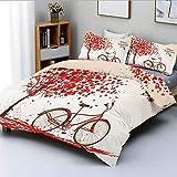 Juego de Funda nórdica, árbol romántico, Corazones Rojos florecientes con Bicicleta y pétalos, Juego de Ropa de Cama Decorativo de 3 Piezas con 2 Fundas de Almohada, Rosa Rojo
