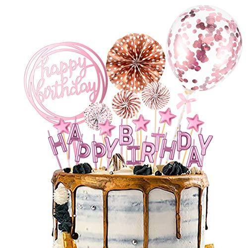 Wuddi Happy Birthday Cupcake Topper Buchstaben Kuchen Kerze Topper Konfetti Ballon Sterne und Fan Cupcake Topper 12 Stück Geburtstag Kuchen Dekoration Supplies (Rose Gold)