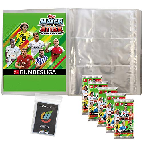 Topps Match Attax 2020/21 - 1 Leere Sammelmappe + 5 Booster + 40 Collect-it Hüllen Sleeves