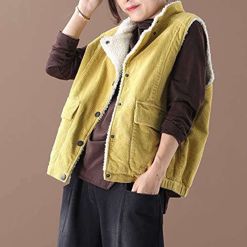 No brandmode voor dames, punk, warm, kleding, voor dames, corduroy, oversized, casual, winterjas, vest, bont