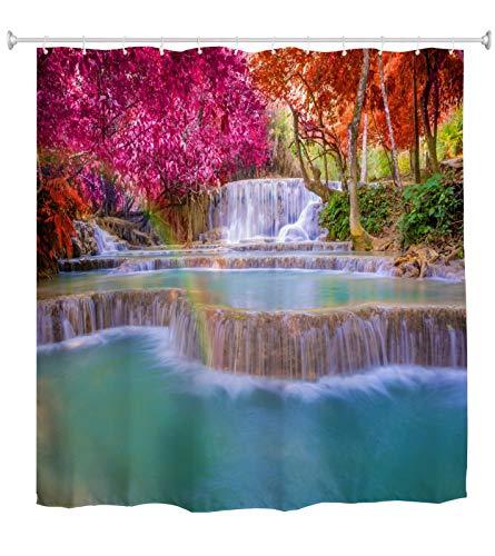 A.Monamour Duschvorhang Laos Wasserfall Tropischen Regen Wald Bunte Bäume Blau Wasser Natur Landschaft Drucken Wasserdichtes Polyestergewebe Duschvorhang Für Bad-Accessoires 180x200 cm / 72