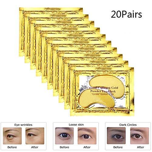 YANW Crystal Gold Powder Gel Collagen Eye MaskMoisturiser, Premium Anti Aging, Anti Wrinkle, Hydratant for Under Eye Wrinkles, Remove Eye Bags, Under-Eye, Dark Circles Eyes 20 Paires
