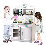 COSTWAY Cocina de Juguete de Madera para Niños 57 x 28 x 95,5cm Cocinita Infantil con Microonda Fregadero Grifo Estante