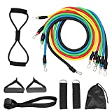 Exercise Resistance Bands Set,Fitness Stretch Workout Bands 11PC with Fitness Tubes, Foam Handles, Ankle Straps, Door Anchor for Home Gym Fitness,for Men Women