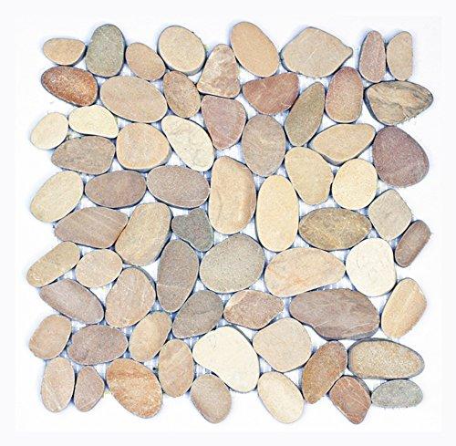 Kieselstein-Mosaik - K-1-557 - 1m² = 11 - geschnitten - Naturstein Bodenfliesen Wandfliesen Badfliesen - Naturstein Lager Verkauf Stein-mosaik Herne NRW