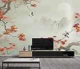 JINHECH papier peint panoramique 3D Paysage d'oiseaux à feuilles rouges de style chinois photo murales peinture murale interieur Auto-adhésif poster geant décor mural moderne 200x140cm
